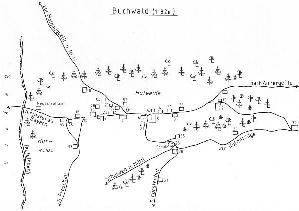 Plánek obce Bučina zachycuje polohu jeho rodného domu čp. 28