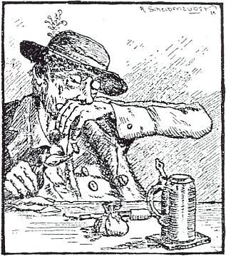 Ilustrace k jednomu z jeho vyprávění, v tomto případě o pašerácích šňupavého tabáku, od R. Scheibenzubera