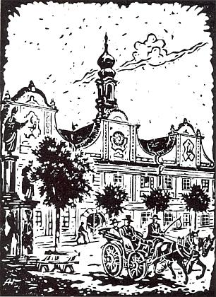 Radnice v Kašperských Horách na jeho linorytu