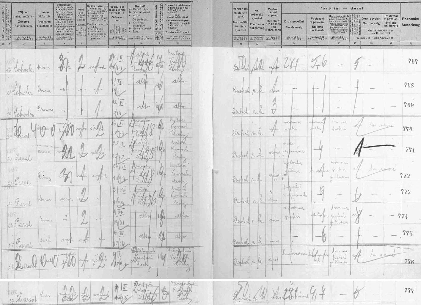 Na dvou arších sčítání lidu z roku 1921 pro dům ve Františkově čp. 85 (jako majitel je uveden Jakob Kraus, otec spisovatele Karla Krause), kde tehdy nedlouho předtím, než se narodil, žili jeho rodiče Adolf (*13. ledna 1894 v Knížecích Pláních, †3. února 1966 v Pfarrkirchen) a Lusi (*18. prosince ve Vimperku jako Aloisia Zelenka)