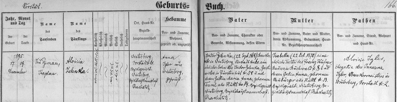 """Záznam vimperské křestní matriky o narození a křtu (konal ho kaplan Veit Zeman) Aloisie Zelenkové, dcery Isidora Zelenky, pekařského mistra ve Vimperku čp. 61, tj. v rodném domě dívčině, syna hostinského Isidora Zelenky """"staršího"""" v Knížecích Pláních čp. 58 a Marie Anny, roz. Tremlové z Chaloupek (Hüttl) čp. 14. Dívčina matka Isabella byla dcerou Franze Kufnera, rolníka v Bučině (Buchwald) čp. 8 a Anny, roz. Neuburgerové z Chaloupek čp.13"""