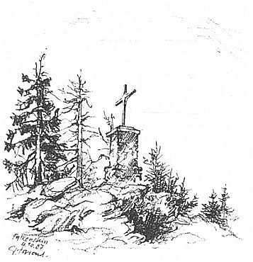 Vrcholový kříž na hoře Falkenstein na Harantem podepsané kresbě