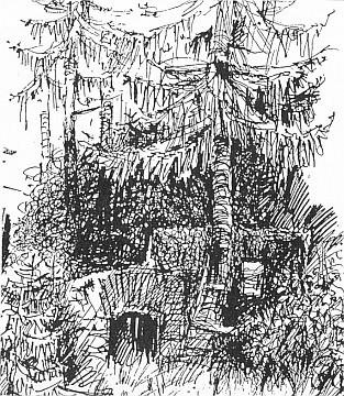 Co zůstalo ze mlýna na potoce Wunderbach u Rejštejna, jak to zachytila Harantova kresba