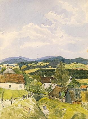 Krajina kolem rodné obce Desky na obraze R.Mimlera z roku 1928