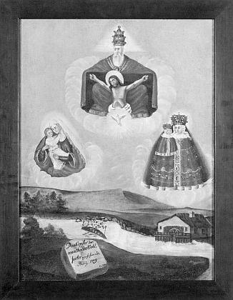 Votivní obraz z poutní kaple při Rožmitálu na Šumavě v černobílé reprodukci před obnovou a po ní