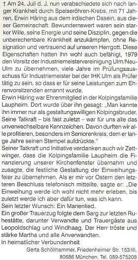 Nekrolog jejího muže Erwina Häringa, který do krajanského měsíčníku napsala Gerta Schöllhammerová
