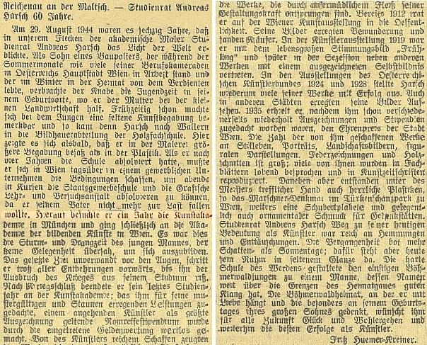 Článek Fritze Huemera-Kreinera k Harschovým šedesátinám na stránkách německého budějovického listu