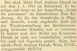 Zpráva o jeho odchodu do penze k 1. lednu 1951 v krajanském měsíčníku toho roku