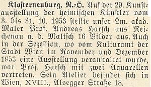 V lednovém čísle krajanského měsíčníku z roku 1954 se objevila i zpráva o jeho účasti na výstavách a adresa jeho vídeňského ateliéru