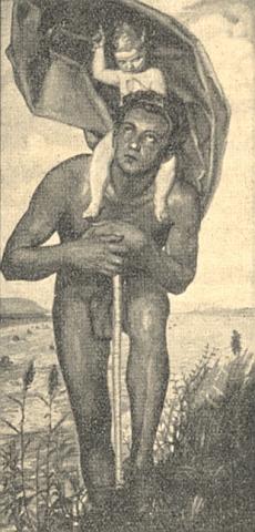 "Černobílá reprodukce jeho malby ""Svatý Kryštof"""
