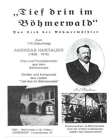 Obálka (2009) DVD, které vydal vídeňský Böhmerwaldbund - vlevo dole je dvůr jeho bydliště (1883-1915) vSankt Pölten, kde bývala umístěna až do zboření domu pamětní deska, v roce 2009 pak na novostavbě v témže místě odhalena deska nová