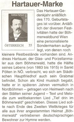 Zvláštní známka vídeňského Böhmerwaldbundu ke 170. výročí jeho narození v roce 2009