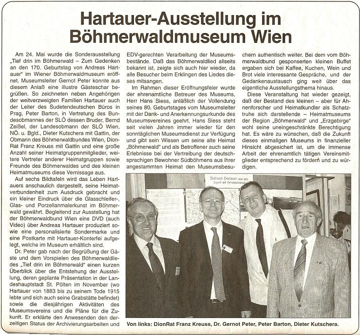 K výstavě u příležitosti 170. výročí jeho narození v Šumavském muzeu ve Vídni