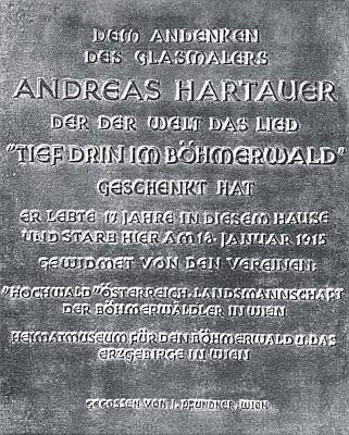 Pamětní deska v Sankt Pölten na domě, ve kterém zemřel