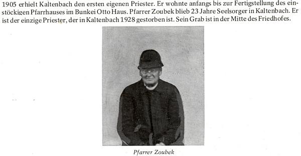 O prvním faráři v Kaltenbachu na stránkách krajanské pamětní knihy