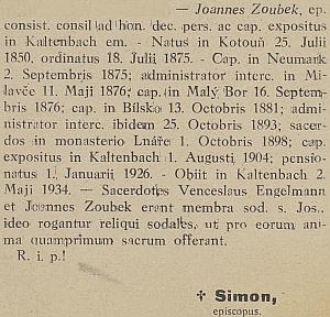 Zpráva o úmrtí faráře Zoubka v ordinariátním listu českobudějovické diecéze