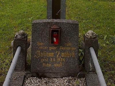 Jeho hrob na hřbitově v Nových Hutích