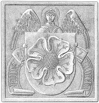 Anděl štítonoš s erbem pánů z Růže na gotickém kachli (Státní hrad a zámek Český Krumlov)