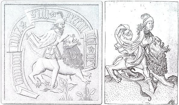 """Kachel s motivem Samsona na lvu (viz i výše obálku zprávy, vydané roku 2008 a mědiryt Mistra E. S. (*1467) zhorního Porýní, identifikovaný jako předloha kachle zejména silákovou pozicí v sedu obkročmo na šelmě, jejíž tlamu trhá podle Bible """"jako by šlo o nějaké kůzle"""""""