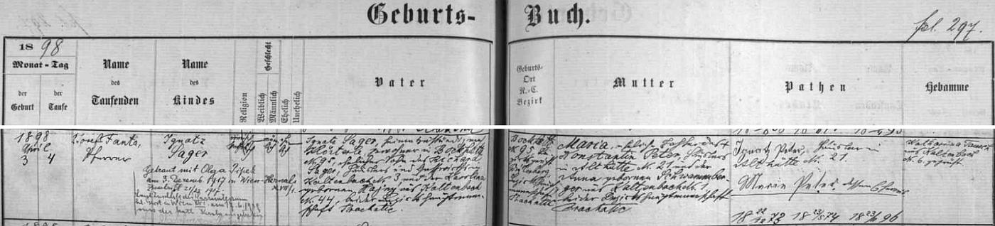 Farář P. Josef Fanta, zastoupený i samostatně na webových stranách Kohoutího kříže, zaznamenal takto do novosvětské oddací matriky zdejší svatbu jejích prarodičů z otcovy strany ze dne 23.listopadu roku 1896