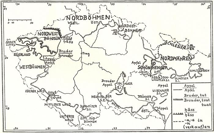 """Mapka """"sudetoněmeckých nářečních krajin"""" (i s příklady místní frekvence některých jazykových tvarů), jak ji vypracoval germanista Ernst Schwarz (1895-1983), dělí """"Wald"""" (tj. Šumavu) na horní, střední a dolní, navíc pak při Šumavě uvádí zvlášť západní Čechy a Chebsko na severu, na jihu pak odlišuje jihovýchodní Čechy a budějovický jazykový ostrov"""