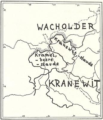 Schwarzova mapa místního rozlišení německých výrazů pro jalovcový keř