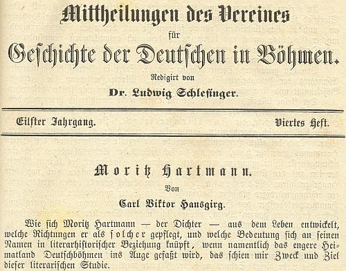 Záhlaví nekrologu v renomovaném časopise Spolku pro dějiny Němců v Čechách, jehož autorem byl Karl Viktor von Hansgirg