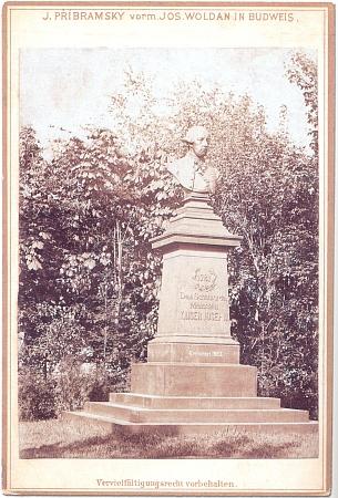 Bysta císaře Josefa II. z roku 1883, která stávala v českobudějovických městských sadech