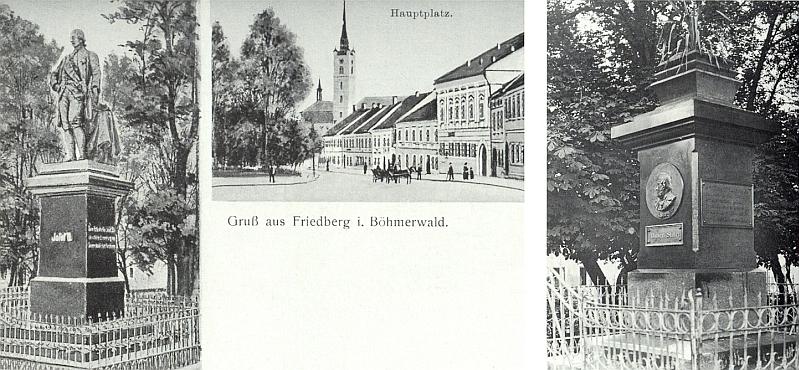 Pomník Josefa II. ve Frymburku, zachycený na pohlednici vlevo, byl v roce 1919 odstraněn a byl na něm později osazen reliéf s podobou Adalberta Stiftera