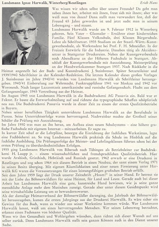 Pozdrav Ericha Hanse k jeho pětašedesátinám v roce 1977