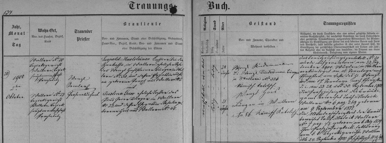Záznam o její svatbě ve volarské oddací matrice