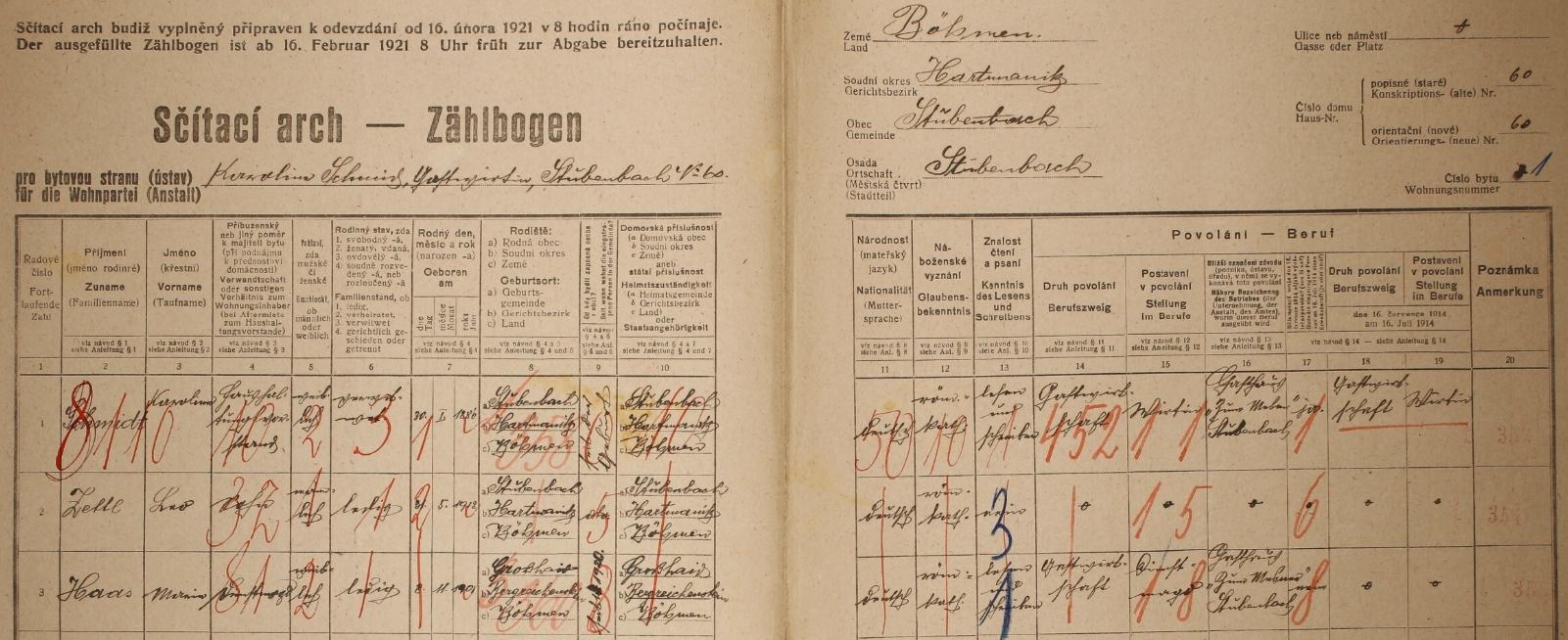 Arch sčítání lidu z roku 1921 pro stavení čp. 60 v Prášilech i s ním