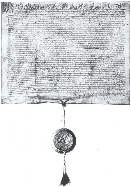 Česky psaná listina Petra Voka z Rožmberka datovaná dnem 29.června roku 1596 a stvrzující práva městyse Volary, náležejícího vletech 1503-1600 rodu pánů z Růže