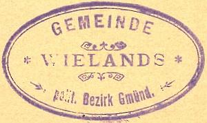 Razítko někdejší obce Wielands (1901)