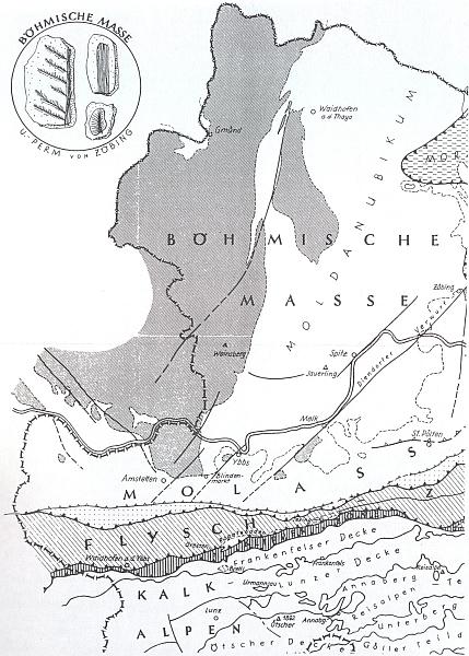 """Mapka geologické stavby Waldviertelu dokazuje, že Gmünd seširokým okolím opravdu náleží k """"Českému masívu"""", vyvrásněnému koncem prvohor tzv. """"hercynskou orogenezí"""""""
