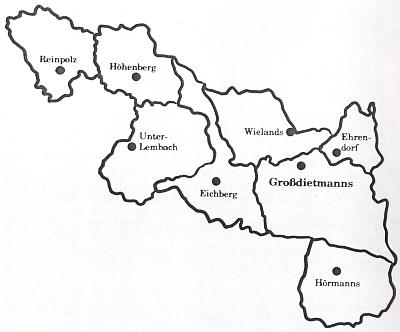 Mapka obce Großdietmanns, těsně přiléhající k české hranici s Novohradskem