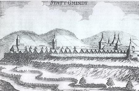 Město Gmünd a město a hrad Weitra na rytině Georga Matthiase Vischera (1628-1696) z roku 1672