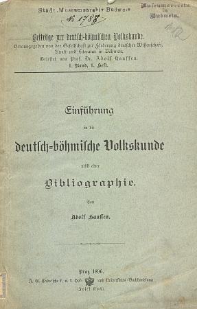 Obálka (1896) jeho úvodu do německo-českého národopisu s cennou bibliografií z fondu Jihočeské vědecké knihovny