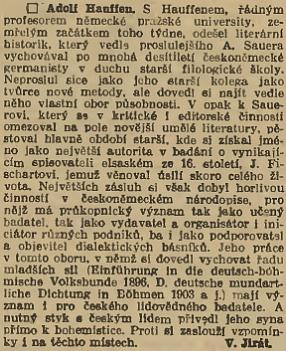 Pozoruhodný nekrolog z pera Vojtěcha Jiráta se objevil v Národních listech