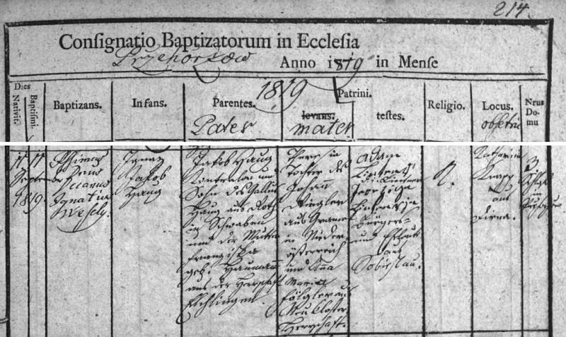 Záznam o narození chlapce Ignaze Jakoba Hauga na přehořovském zámku otci Jakobu Haugovi rodem ze Švábska amatce Theresii, roz. Ringlerové z Dolních Rakous - svědky byli manželé Lintnerovi ze Soběslavi