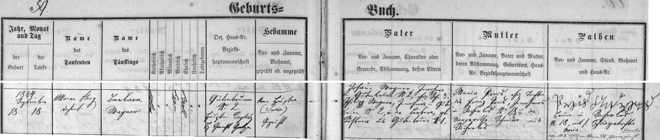 Poslední jeho zápis v křestní matrice farní obce Horní Stropnice