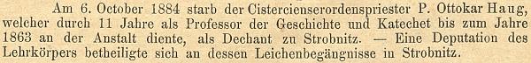 Zpráva o jeho úmrtí a účasti deputace učitelského sboru na jeho pohřbu v Programu německého gymnázia českobudějovického...