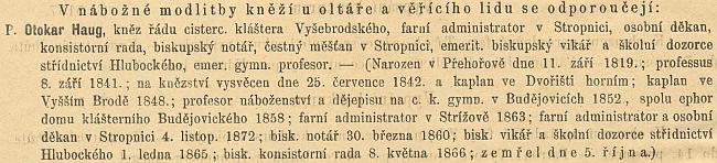 ... a další zpráva o jeho úmrtí, tentokrát v ordinariátním listu budějovické diecéze