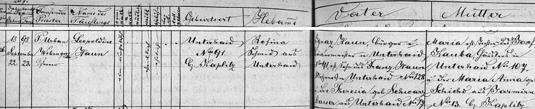 Záznam z matriky farní obce Dolního Dvořiště svědčí mimo jiné i o tom, že její babička z matčiny strany pocházela zJaroměře (Jarmirn)
