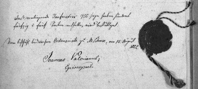 Na poslední straně matriky nacházíme i podpis biskupa Jana Valeriana Jirsíka, stvrzující v roce 1852 na Svatém Kameni, že svazek má 755 stran