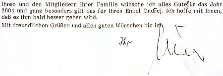 Závěr jeho dopisu rodině Koppových