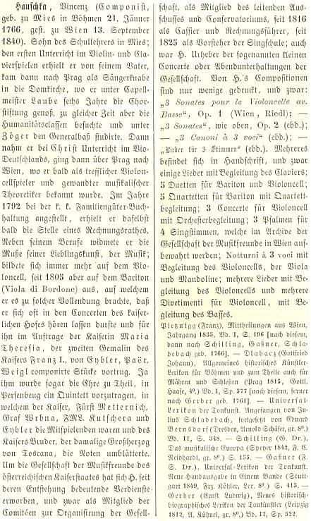 Jeho heslo ve Wurzbachově lexikonu význačných osobností rakouského mocnářství