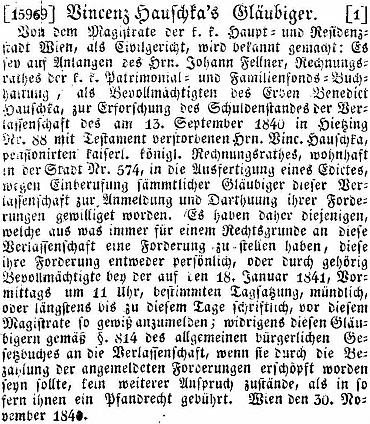 Zatímco jeho skon (alespoň podle databáze rakouského tisku) vídeňský tisk nezaznamenal, informaci ovypořádání jeho pozůstalosti tu mezi inzeráty nacházíme