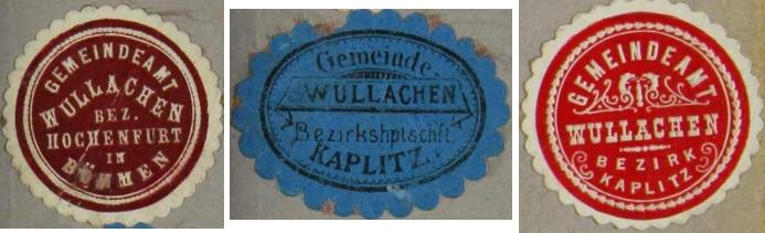 Tři nálepky někdejšího obecního úřadu Wullachen (Bolechy)