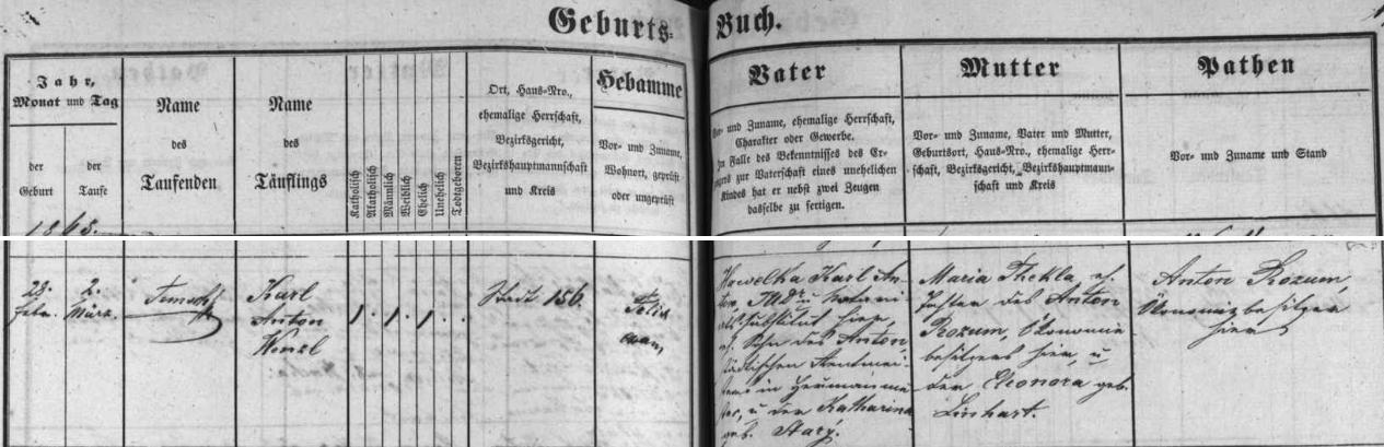 Záznam v českobudějovické matrice o jeho narození v rodině JUDr. Karla Hawelky a jeho ženy Marie Thekly, roz. Rozumové